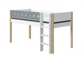 Flexa White Halfhoogslaper Blank 90 x 190 cm + Rechte Ladder + Uitvalbeveiliging Blauw