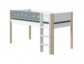 Flexa White Halfhoogslaper Blank 90 x 200 cm + Rechte Ladder + Uitvalbeveiliging Blauw