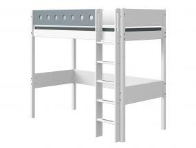 Flexa White Hoogslaper 90 x 190 cm + Rechte Ladder + Uitvalbeveiliging Blauw