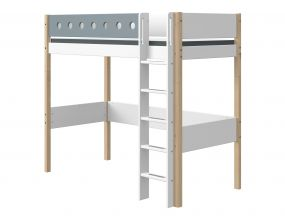 Flexa White Hoogslaper Blank 90 x 190 cm + Rechte Ladder + Uitvalbeveiliging Blauw