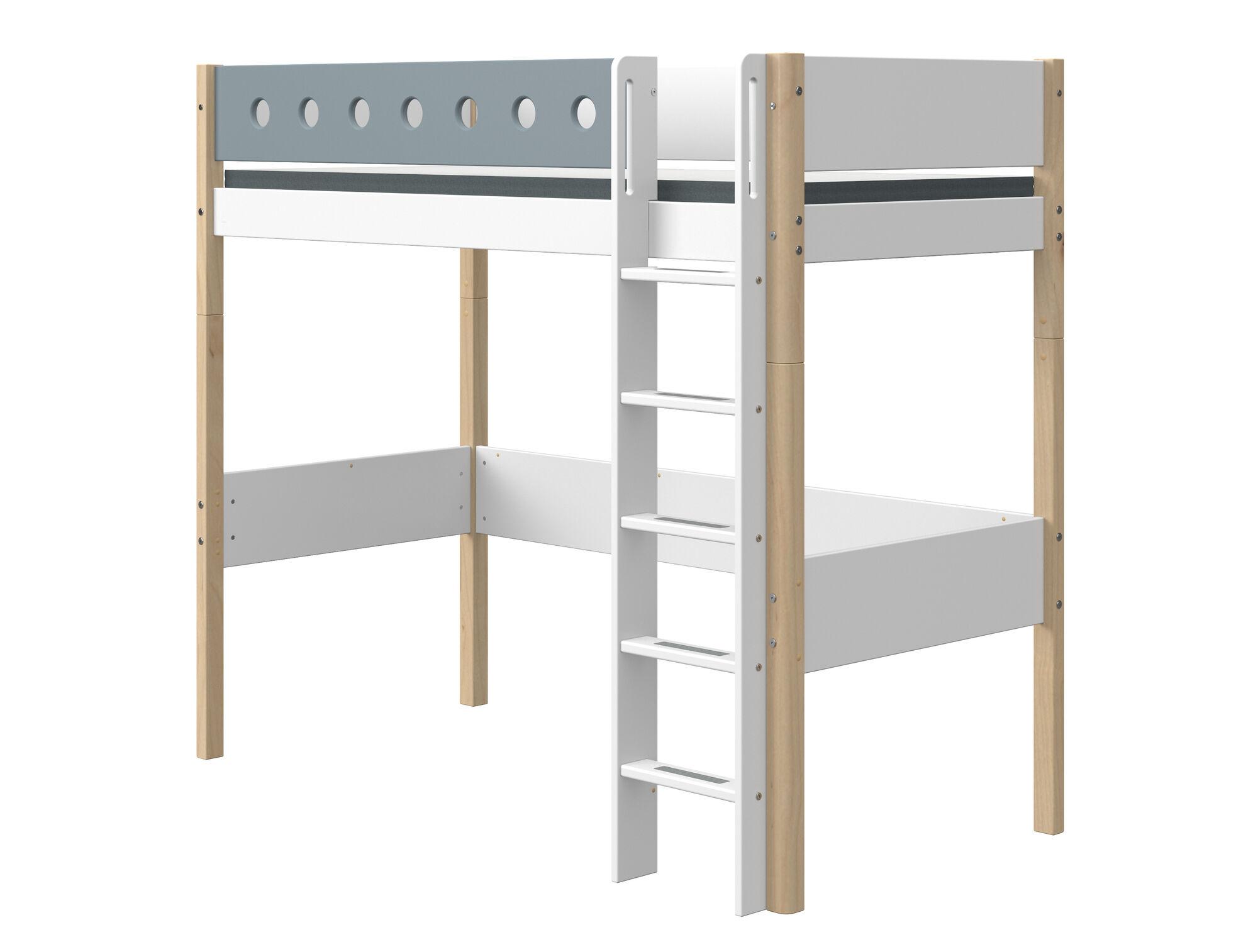 Flexa White Hoogslaper Blank 90 x 200 cm + Rechte Ladder + Uitvalbeveiliging Blauw