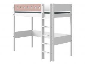 Flexa White Hoogslaper 90 x 190 cm + Rechte Ladder + Uitvalbeveiliging Roze