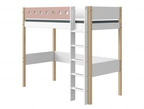 Flexa White Hoogslaper Blank 90 x 200 cm + Rechte Ladder + Uitvalbeveiliging Roze