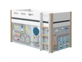 Flexa Nor Halfhoogslaper Rechte Ladder + Speelgordijn Transport 90 x 200 cm