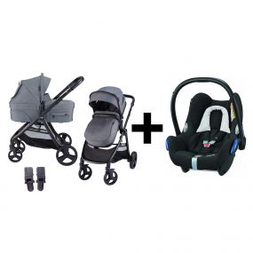 Kinderwagen 2in1 X-GO Grey + Maxi Cosi Cabriofix Autostoel Black Grid