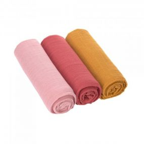 Lassig Doeken 3 Stuks Roze Rood Geel 85 x 85 cm