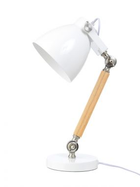 Life Time Bureaulamp Hout Metaal Wit