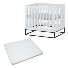 Cabino Baby Box Met In Hoogte Verstelbare Bodem Dayley Wit Met Matras