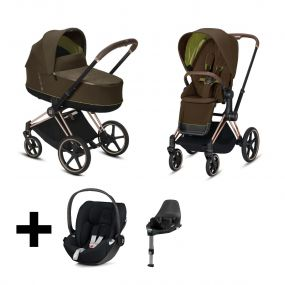 Cybex Kinderwagen 3 in 1 Priam Khaki Green Brown + Cybex Cloud Z I Size Autostoel + Base
