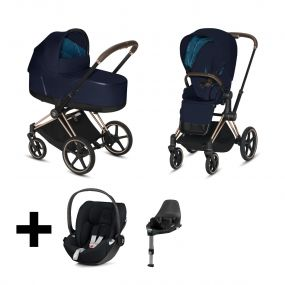 Cybex Kinderwagen 3 in 1 Priam Plus Midnight Blue + Cybex Cloud Z I Size Autostoel + Base