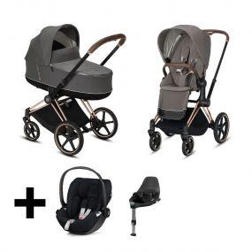 Cybex Kinderwagen 3 in 1 Priam Soho Grey/Mid Grey + Cybex Cloud Z I Size Autostoel + Base