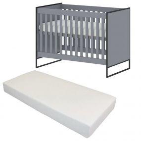 Cabino Baby Bed Met Matras Dayley Grijs 60 x 120 cm