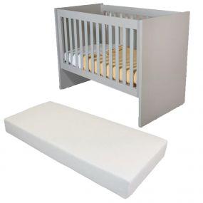 Cabino Baby Bed Met Matras Fresno Grijs 60 x 120 cm
