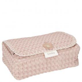 Koeka Hoes Voor Babydoekjes Wafel Antwerp Grey Pink