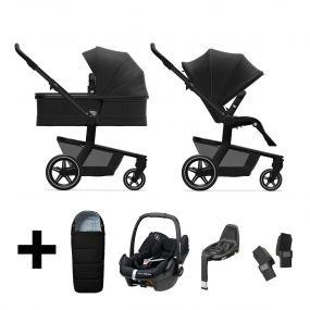 Joolz Kinderwagen 3 in 1 Hub+ Brilliant Black + Autostoel + Adapterset + Base + Voetenzak