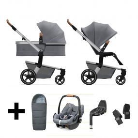 Joolz Kinderwagen 3 in 1 Hub+ Gorgeous Grey + Autostoel + Adapterset + Base + Voetenzak