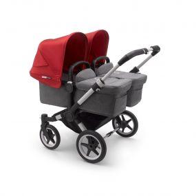 Bugaboo Tweeling Kinderwagen Donkey3 Alu - Grey Melange Red