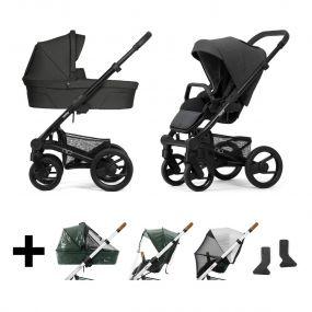 Mutsy Kinderwagen Nio 2 in 1 Explore Shade Grey Grip Black + Regenhoezen + UV Cover + Adapters