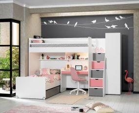 Neo Hoogslaper Met Bed + Bureau Klein + Kast 1 Deurs Pink
