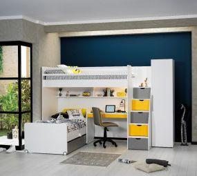 Neo Hoogslaper Met Bed + Bureau Klein + Kast 1 Deurs Geel