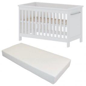 Cabino Baby Bed Met Matras Noel Wit 60 x 120 cm