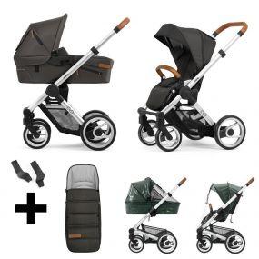 Mutsy Kinderwagen Evo Urban Nomad Stone Grey Standard + Gratis Regenhoezen + Adapter + Voetenzak