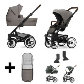 Mutsy Kinderwagen Nio 2 in 1 Journey Taupe Grey Black + Gratis Voetenzak + Regenhoezen + Adapters