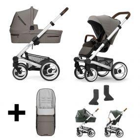 Mutsy Kinderwagen Nio 2 in 1 Journey Taupe Grey Standard + Gratis Voetenzak + Regenhoezen + Adapters