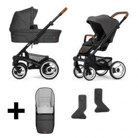 Mutsy Kinderwagen Nio 2 in 1 North Grey Black + Gratis Voetenzak + Regenhoezen + Adapters