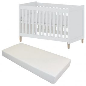 Cabino Baby Bed Met Matras Stockholm Wit 60 x 120 cm