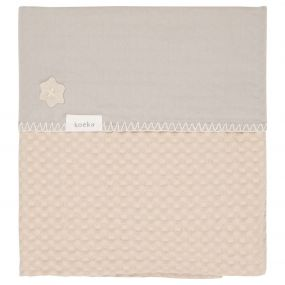Koeka Wiegdeken Wafel Flanel Antwerp Sand Misty Grey 75 x 100 cm