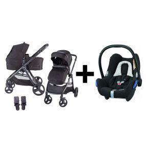Kinderwagen 2in1 X-GO + Maxi Cosi Cabriofix Autostoel Black Grid